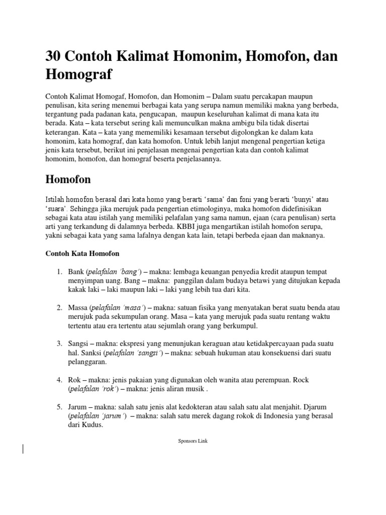 30 Contoh Kalimat Homonim