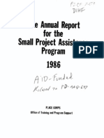 Peace Corps Small Project Assistance Program USAID Annual Report 1986