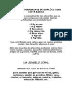 CAMPANHA PERMANENTE DE DOAÇÕES ITENS CESTA BÁSICA