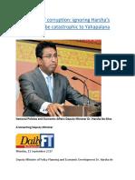 Eradication of corruption  ignoring Harsha's warning may be catastrophic to Yahapalana Government.docx