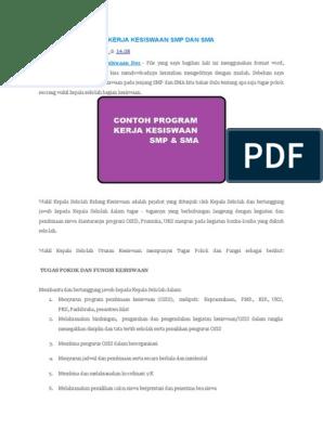 Ownload Program Kerja Kesiswaan Smp Dan Sma Doc