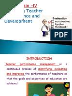 Managing Teacher Performance Development