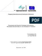 Pensamiento del Docente, Estrategia Instruccional y Resultados Educacionales en una Sociedad en Transición