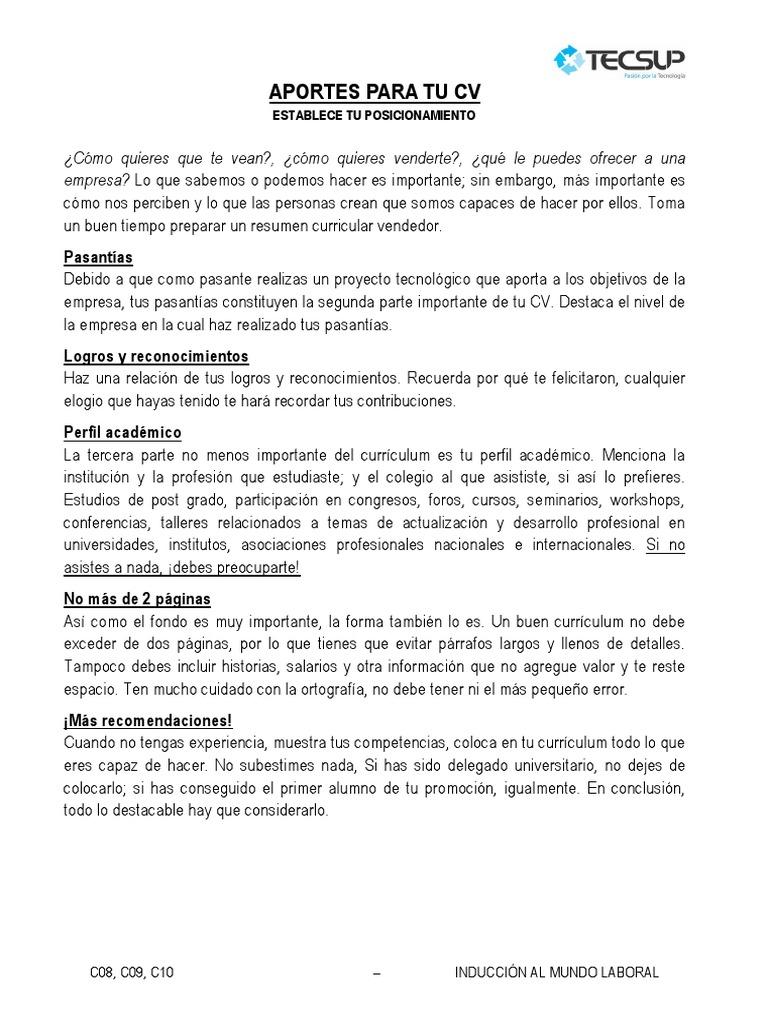 Dorable Perfil Parte De Un Currículum Elaboración - Ejemplo De ...