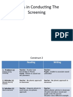 Issues in Conducting the Screening