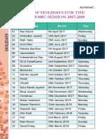 List of Holidays 1718