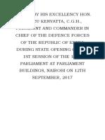 SPEECH by Kenyatta Parliament September 12, 2017