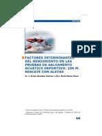 Factores Determinantes Del Rendimiento en Las Pruebas de Salvamento Acuático Deportivo- 100 m. Rescate Con Aletas