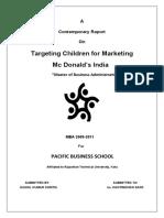 Tatgeting Children for Marketing