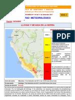 Boletin Aviso Meteorológico - InDECI Nº 118 Del 11-09-2017
