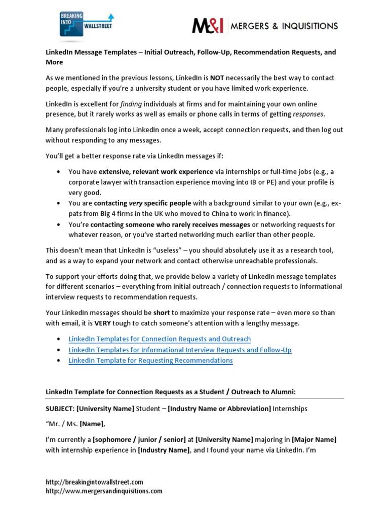 12 03 LinkedIn Message Templates | Linked In | Internship