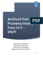 Jharkhand Food Processing Industries Policies 2015- Draft