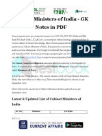 Cabinet Ministers of India GK Note