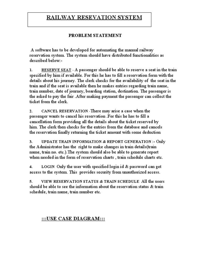 railway reservation case study | Use Case | Microsoft Windows