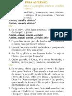 Cantos Aspersão Liturgia Batismal