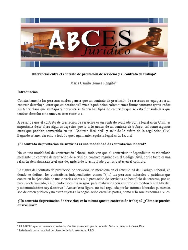 Diferencias Entre El Contrato de Prestacion de Servicios y El ...