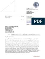 Department of Justice letter to Utah State University