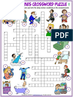 daily routines vocabulary esl crossword puzzle worksheets