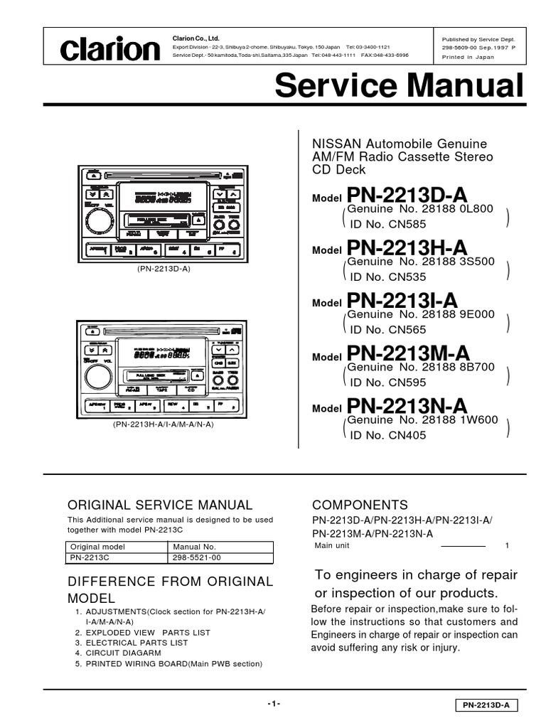 clarion pn 2213d e5609 00 diode capacitor rh scribd com clarion service manual download clarion apx480m service manual