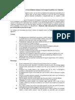 Ventajas y Desventajas de Los Distintos Sistemas de Transporte Público en Colombia