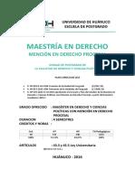 Plan de Estudios - Derecho Procesal