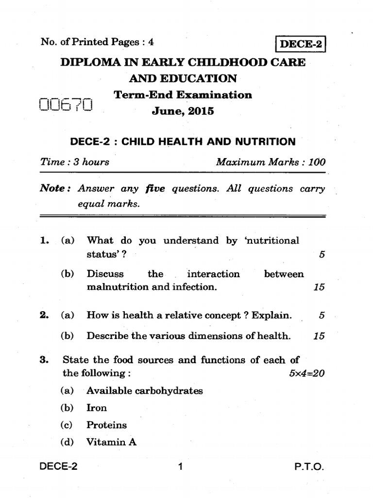 DECE-02 QP | Malnutrition | Nutrition