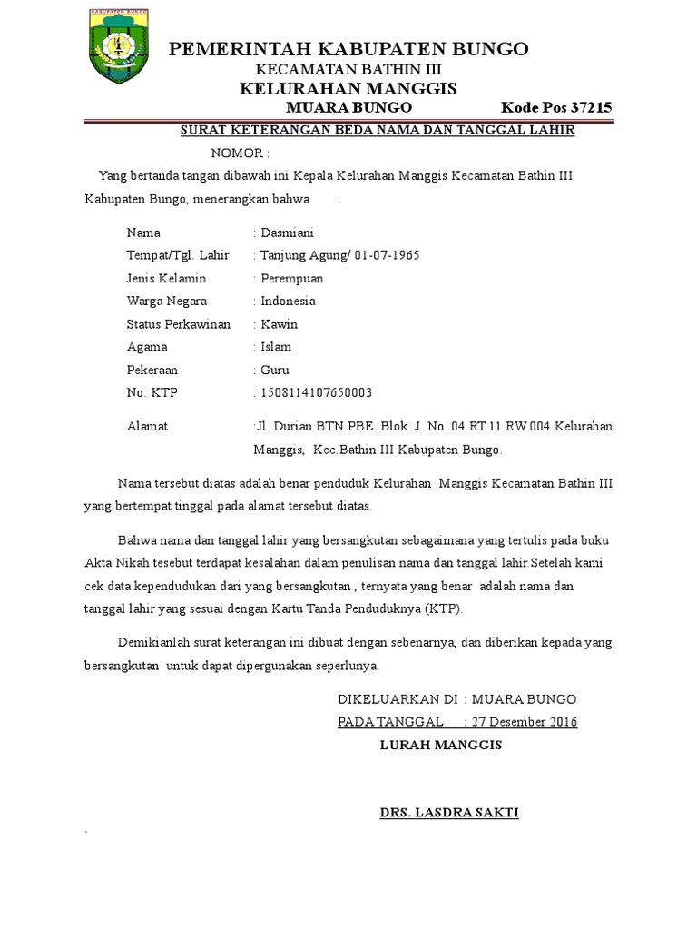 Surat Keterangan Beda Nama Dan Tanggal Lahir Docx