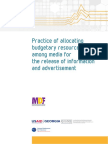 Practice of allocating budgetary resources among media for the release of information and advertisement, 2016