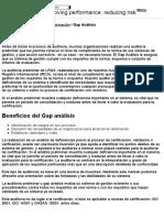Gap análisis - Auditoría Preliminar  ISO 9001, ISO 14001, OHSAS 18001, ISOFSSC 22000