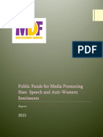 Public Funds for Media Promoting Hate Speech and Anti-Western Sentiments