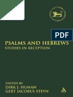 Dirk J. Human, Gert Jacobus Steyn Psalms and Hebrews Studies in Reception 2010