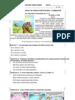 Avaliação de Língua Portuguesa 3º Bimestre 2017