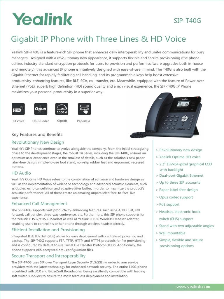 Yealink SIP-T40G 3-Line Ultra-Elegant Gigabit IP Phone with