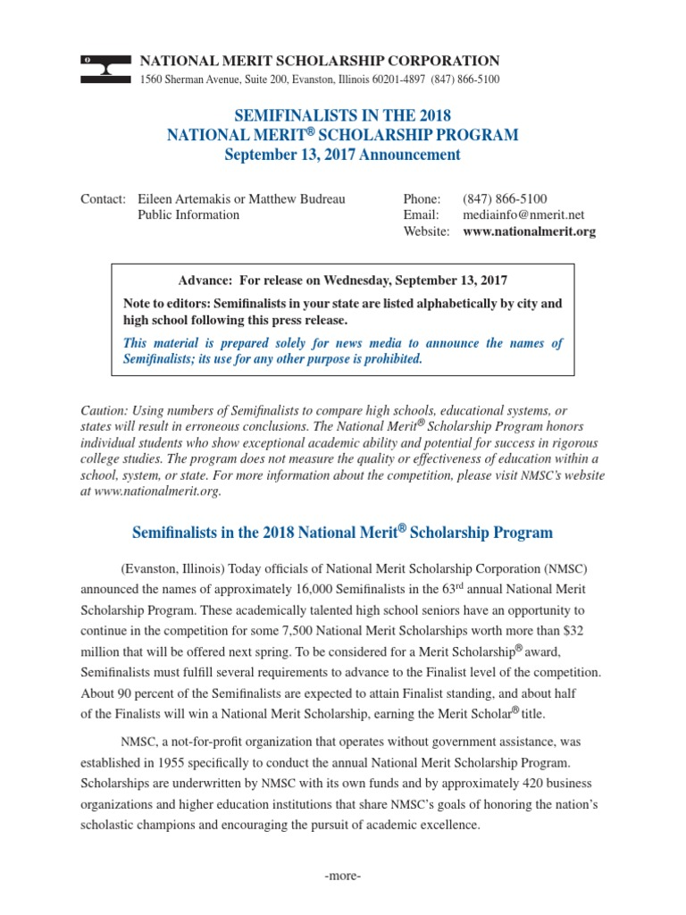 2018 Pennsylvania National Merit Scholarship Program