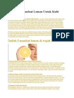 5 Khasiat Manfaat Lemon Untuk Kulit Wajah