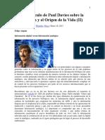 l Nuevo Artículo de Paul Davies Sobre La Información y El Origen de La VidaII