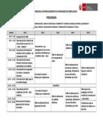 Programa Para Taller de Fortalecimiento de Capacidades de Especialistas - 4 Sedes Provinciales