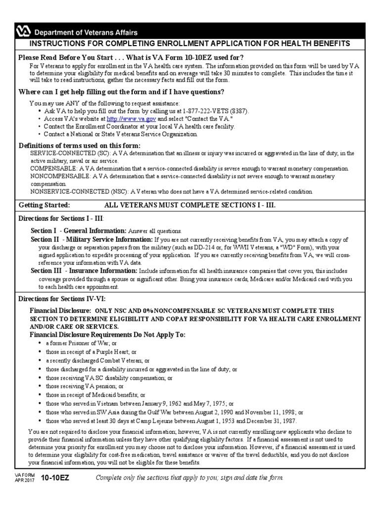 1010ez Fillable Veterans Health Administration Military Discharge