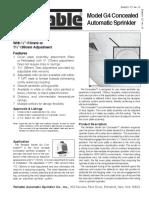 Data Sheet Rociador Colgante Oculto Reliable