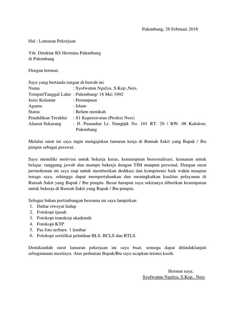 31 Contoh Surat Lamaran Untuk Rumah Sakit Kumpulan Contoh Gambar