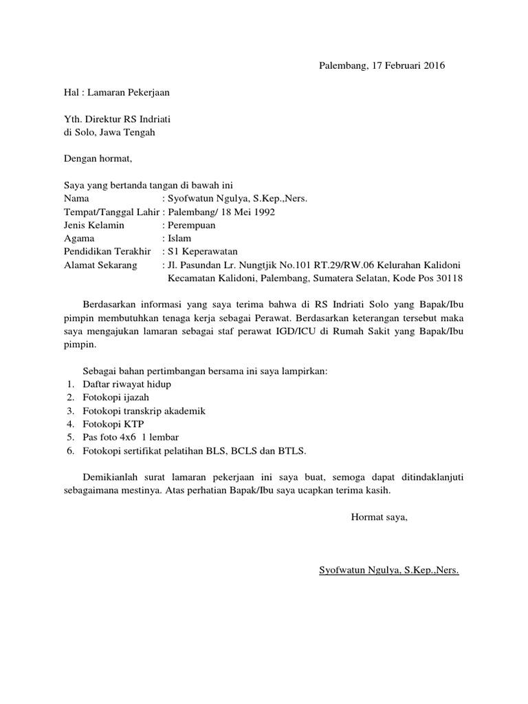 Surat Lamaran Pekerjaan Rs Indriati Syofwatun Ngulya
