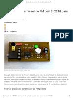 Circuito de Transmissor de FM Com 2n2218 Para Celular _ Te1
