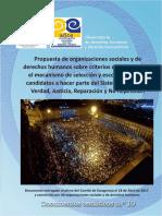 PROPUESTA | Propuestas de Organizaciones Sociales Y DD.HH sobre criterios para la seleccion y escogencia de los candidatos al Sistema Integral de Verdad, Justicia, Reparación y No Repetición.