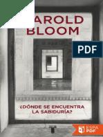 _Donde Se Encuentra La Sabiduri - Harold Bloom