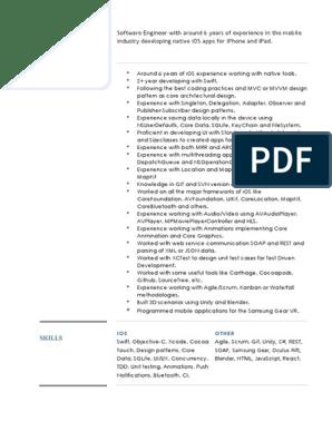 Ios Developer Resume | Ios Sdk | Ios