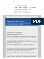 DHS Statement on the Issuance of Binding Operational Directive 17-01