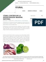Cómo Controlar La Hipertensión de Manera Natural1