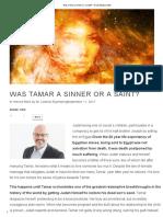 Tamar a Sinner or a Saint?