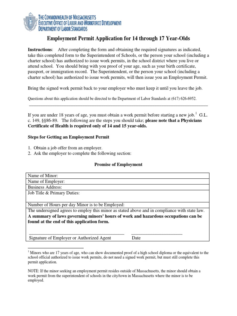 how to get a youth work permit