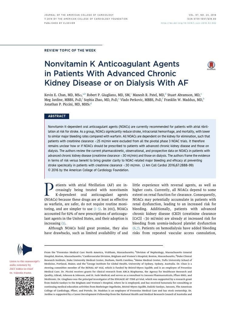 Anti Vit k en Fa Con Irc en Hd Jacc 2016 | Chronic Kidney Disease ...